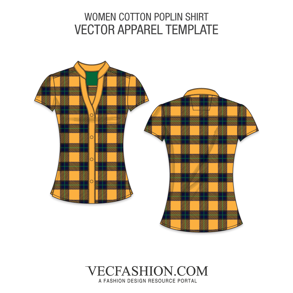 image free library Women fitted cotton poplin. Vector clothing plaid shirt