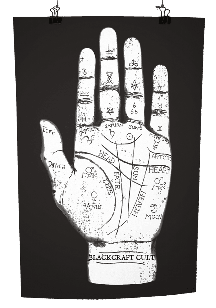 graphic black and white Palm Reader