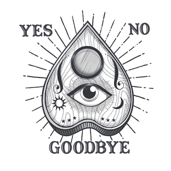 graphic freeuse Yes No Goodbye Magic Ouija Vintage Planchette Design Throw Pillow