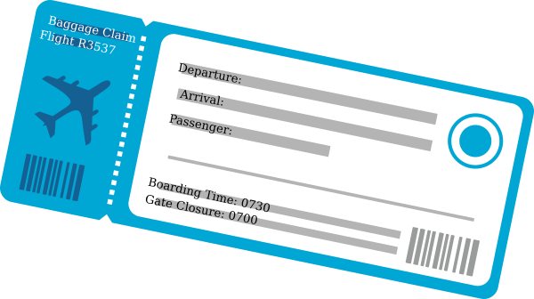 graphic black and white stock Plane Ticket Clip Art at Clker