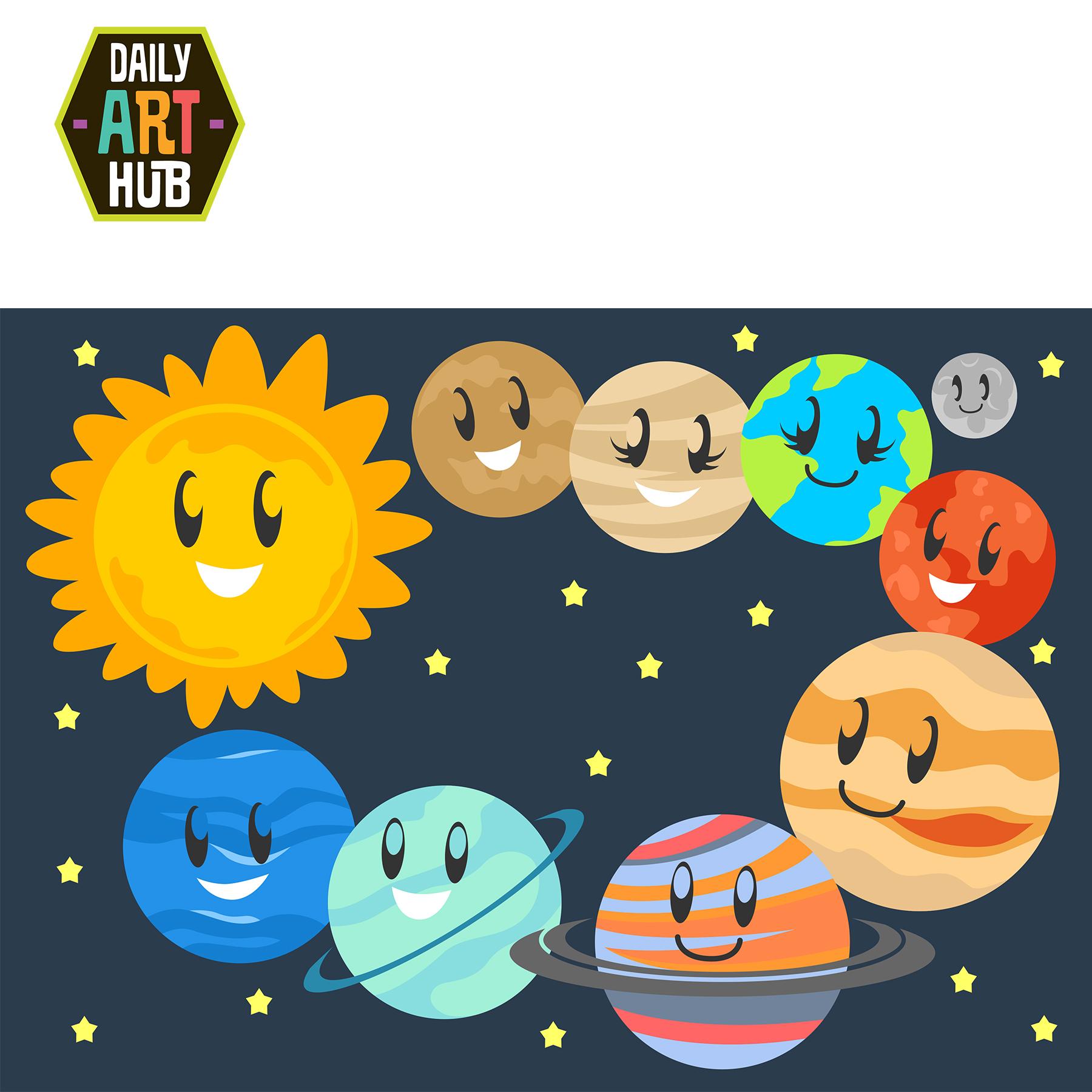 vector transparent Cute clip art set. Planets clipart kids