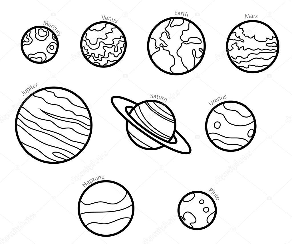 graphic stock Pin on mars . Planets vector line art.