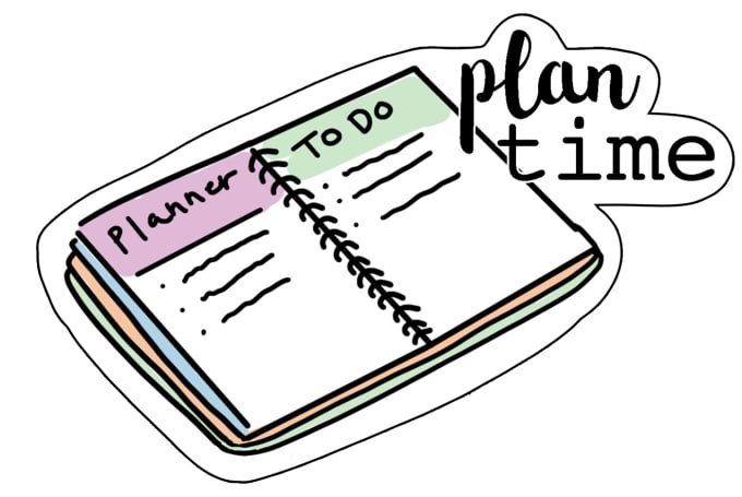 clip art transparent Planner clipart. Draw a sticker for