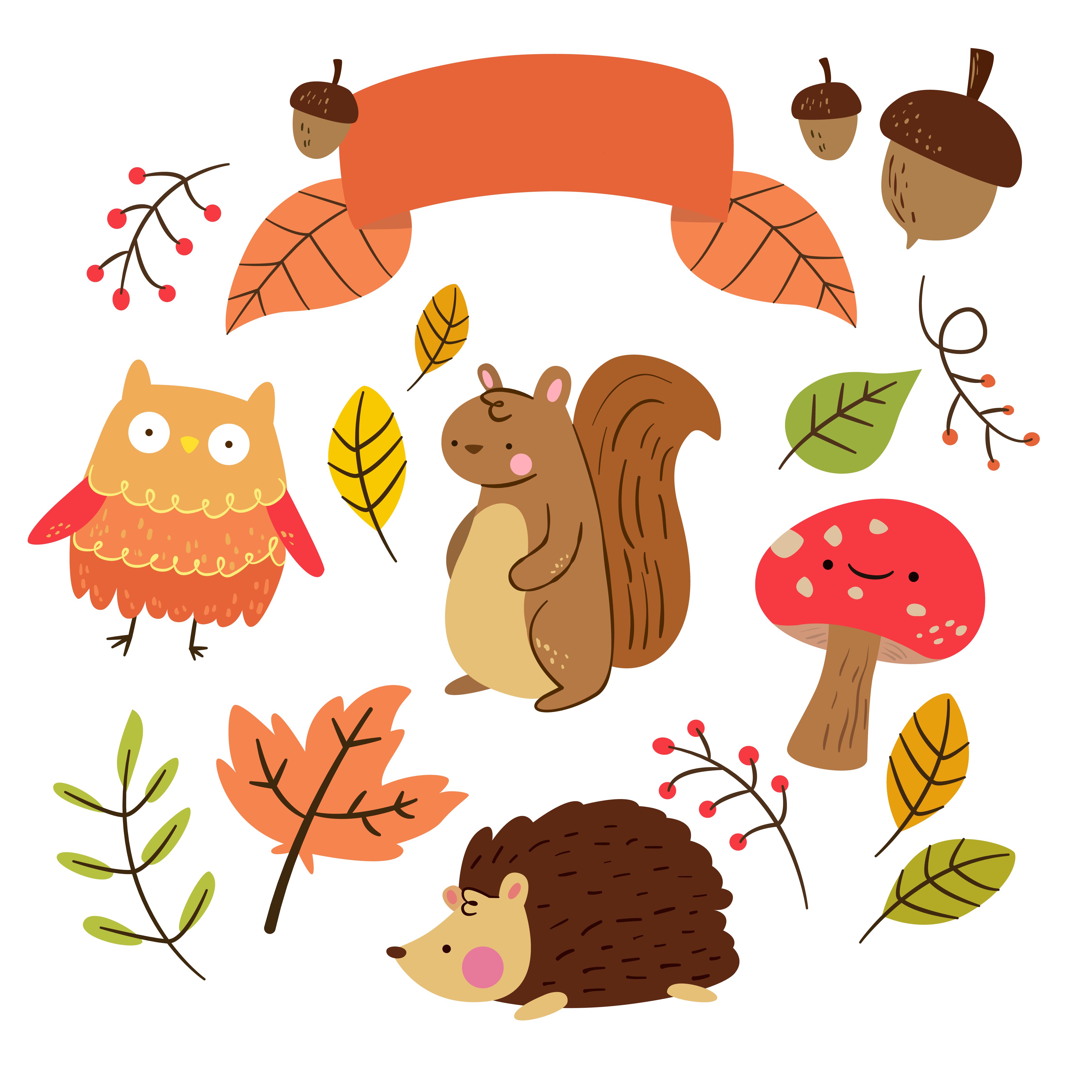 png free library Free critter autumn planner. Yes clipart cute