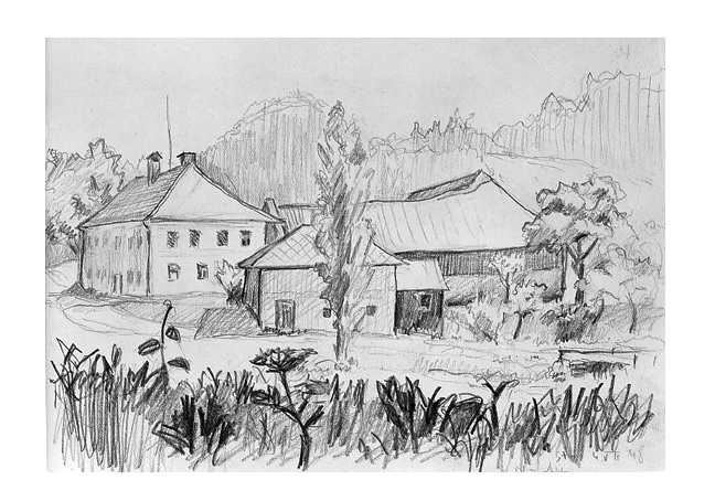 clip art transparent stock Drawing nature house. Farmstead pencil on paper