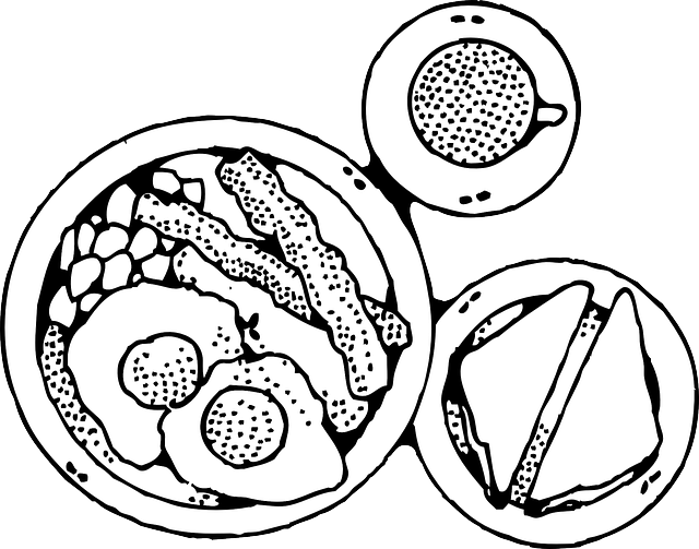 clip black and white stock Pancakes clipart black and white. Dinner plate healthy food