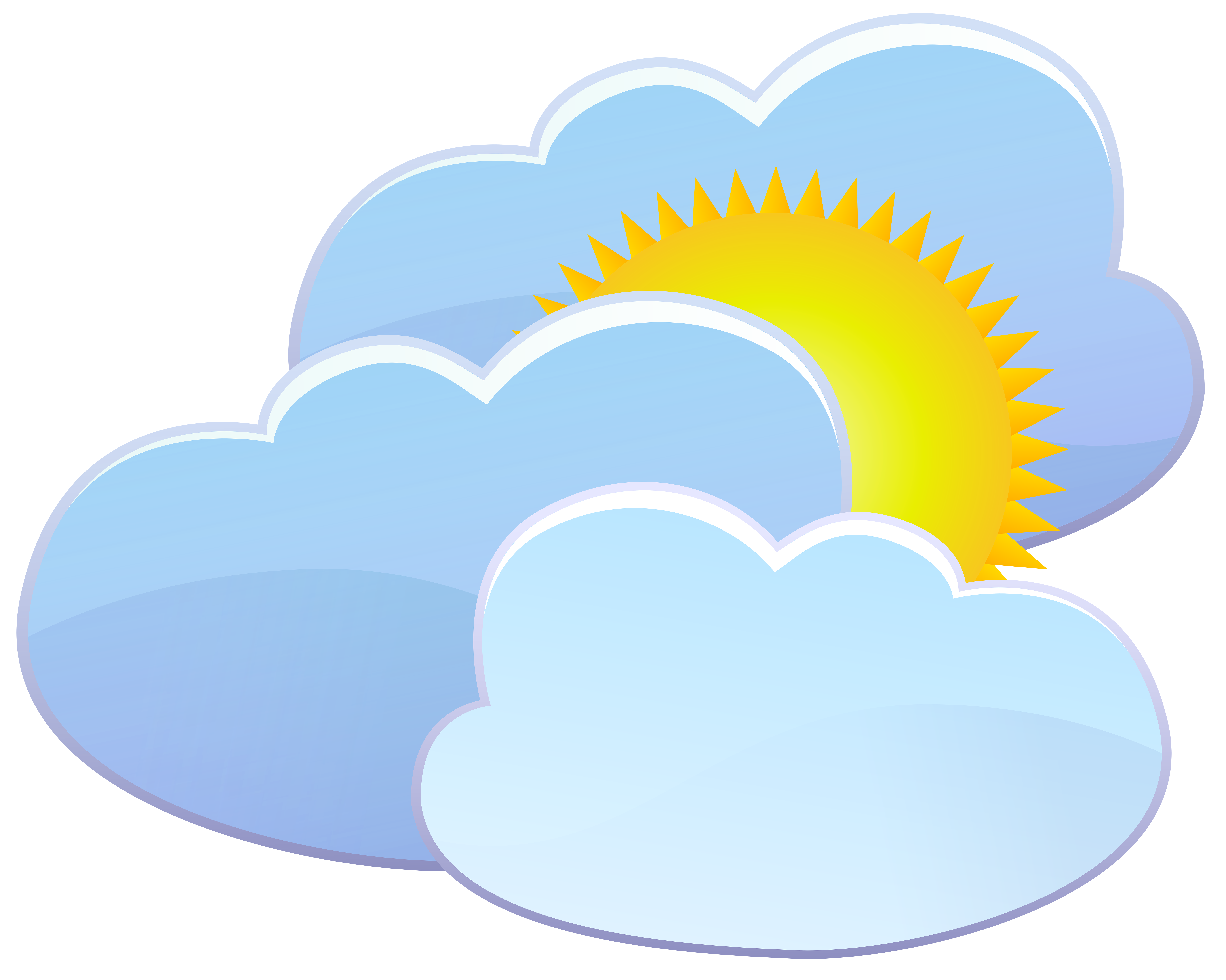 png stock Sun with clouds clipart. Three and weather icon