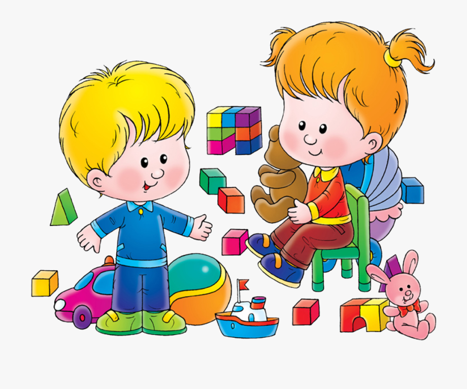 graphic free Playing with kindergarten play. Kids sharing toys clipart
