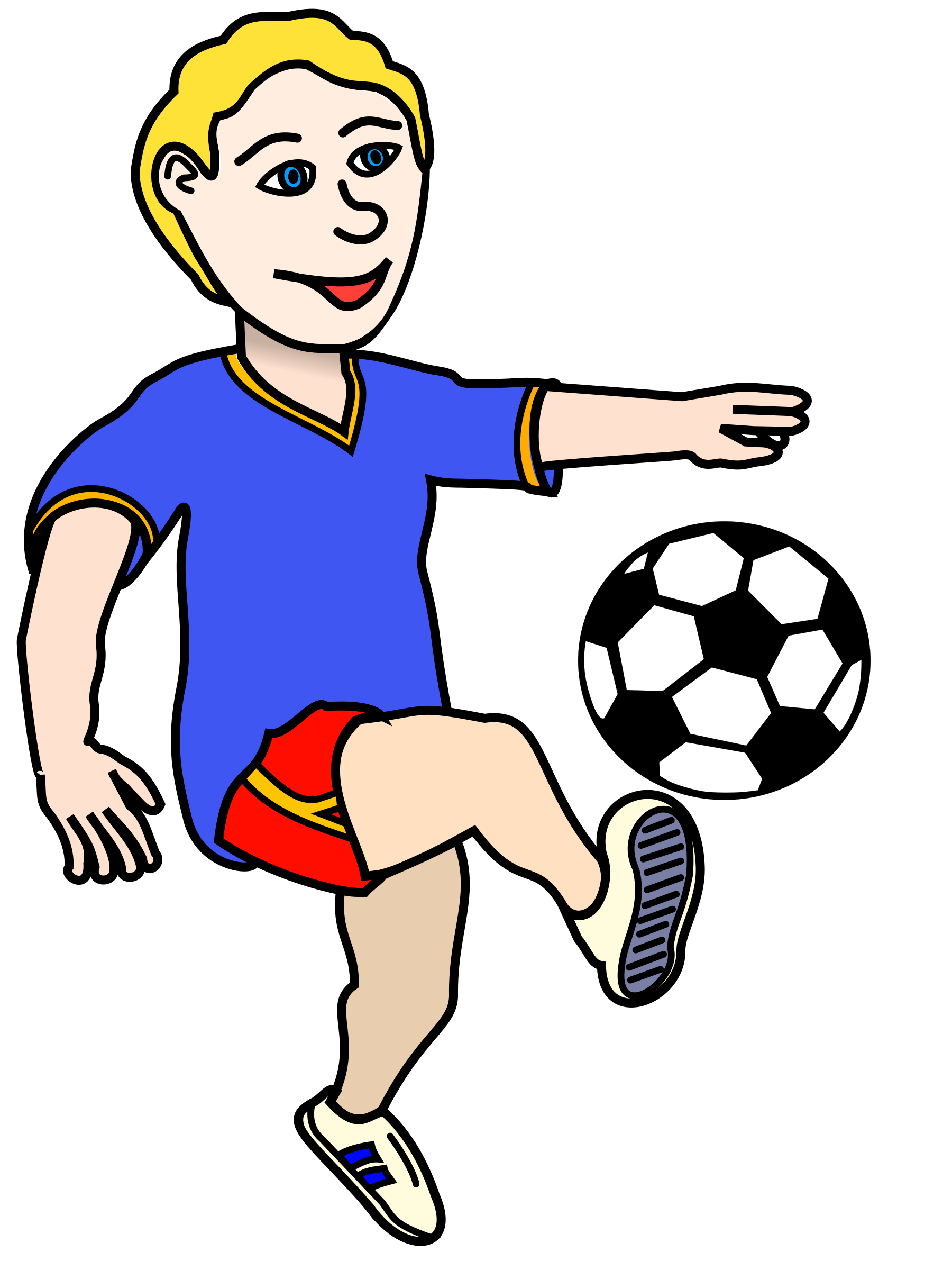 jpg free Soccer playing boy coloured. Action clipart football player