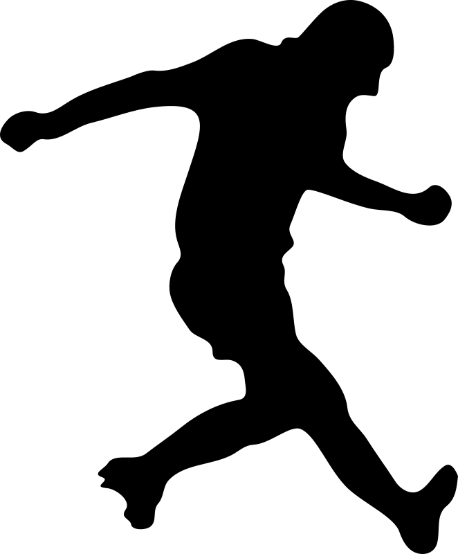 jpg freeuse Player silhouette medium image. Playing clipart soccer kick