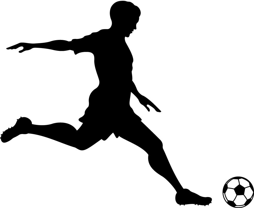 graphic black and white stock Playing clipart soccer kick. Free football player kicking