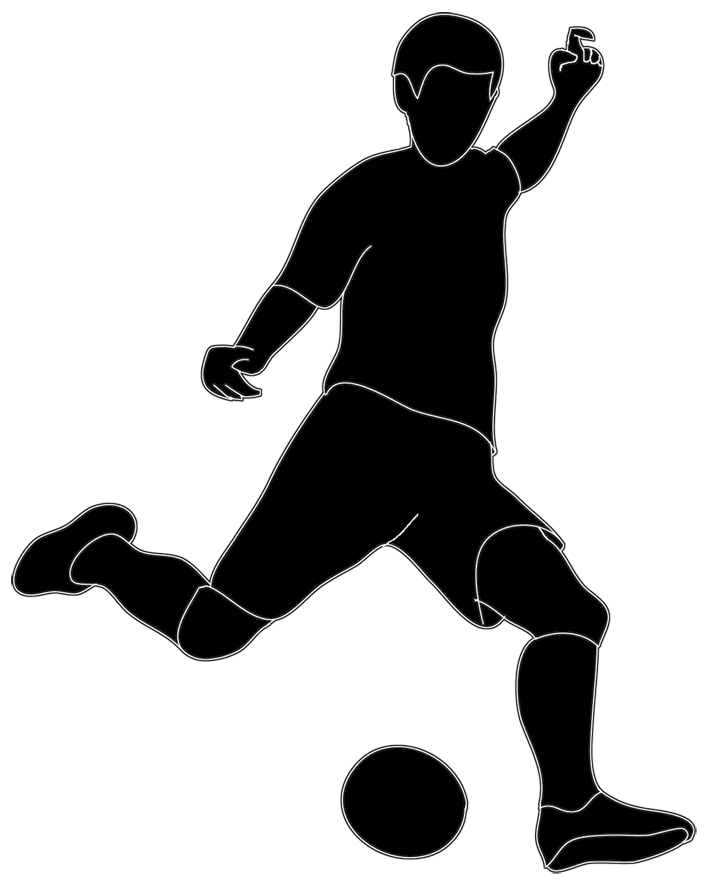 clip royalty free download Player black and white. Playing clipart soccer kick