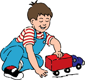 transparent library Playing clipart. Boy with toy truck.