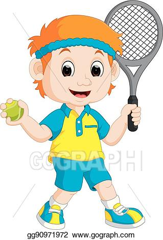 vector royalty free stock Vector art boy lawn. Playing tennis clipart