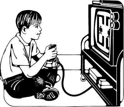 jpg library playing video games clipart #63985389