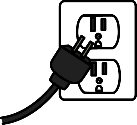 svg black and white library Power . Plug clipart