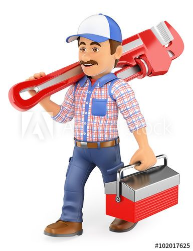 picture royalty free download  d walking with. Plumber clipart workman