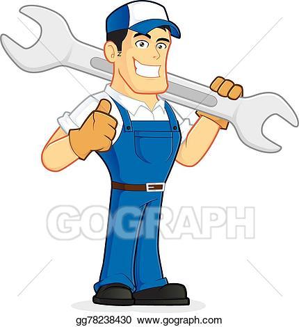 clip art download Plumber clipart workman. Vector art mechanic or