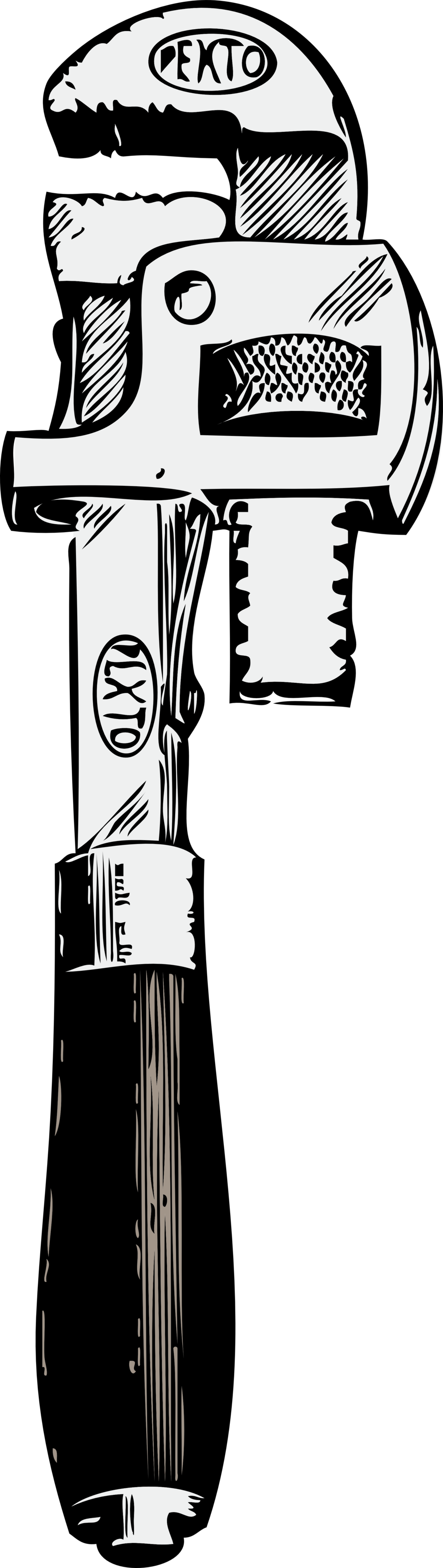 vector black and white stock Public domain clip art. Plumbers wrench clipart