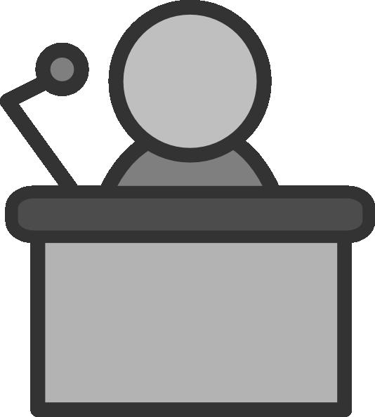 clipart black and white stock Speaker at . Podium clipart.