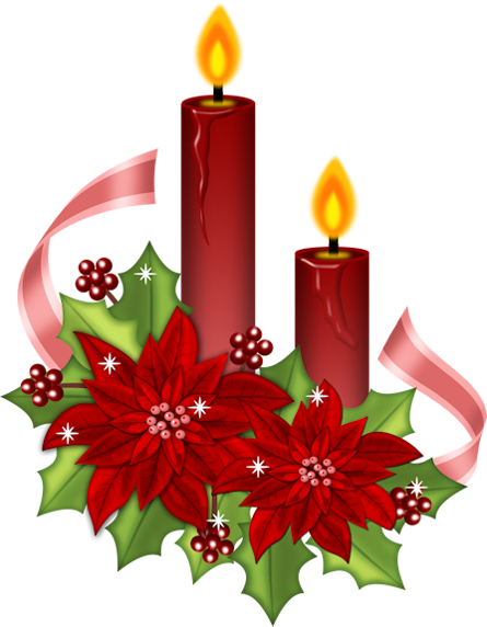picture freeuse library Red with poinsettia gallery. Christmas candles clipart.