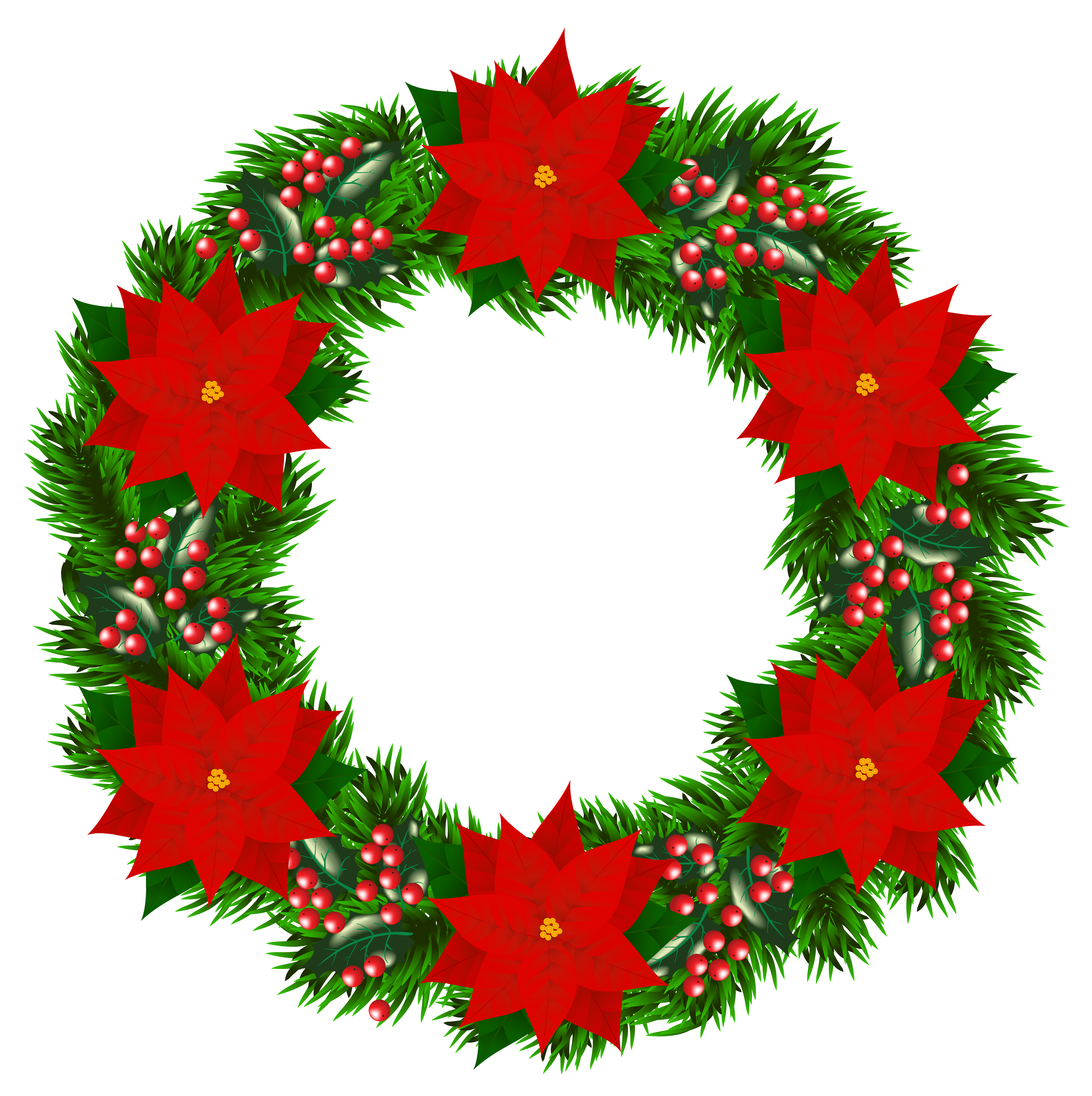 clip Clipart wreath. Christmas with poinsettia png