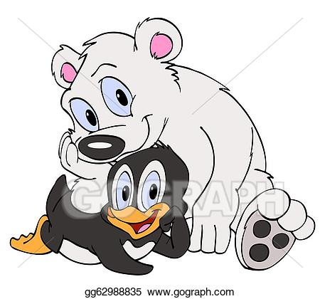 clip library Polar bear and penguin clipart. Friends stock illustration
