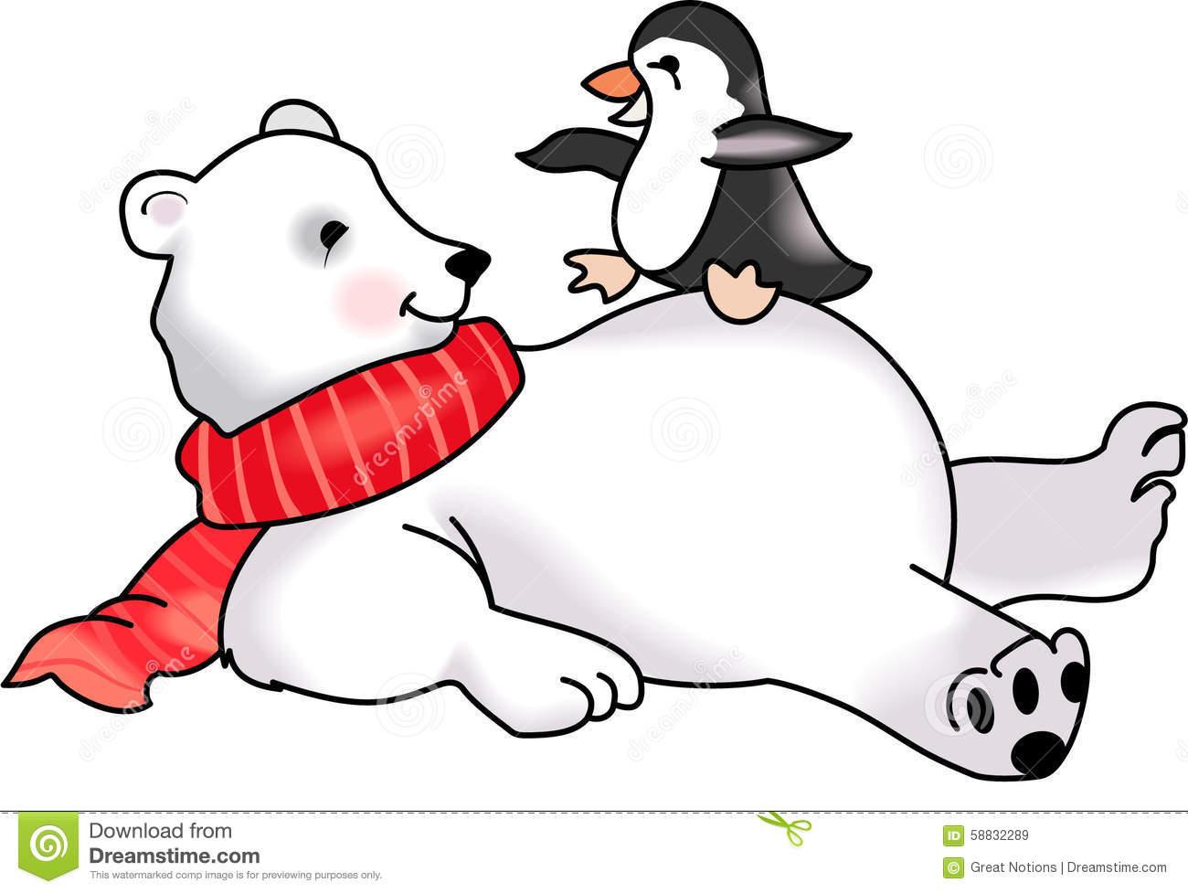 vector royalty free stock Cute cartoon free download. Polar bear and penguin clipart