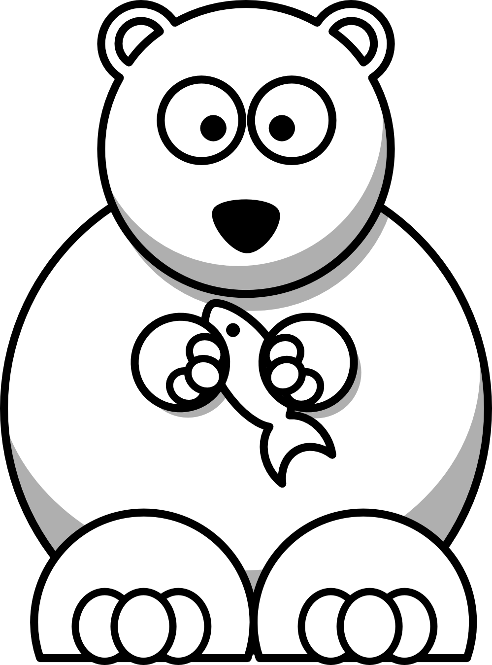 png royalty free library Polar Bear Clip Art Black And White