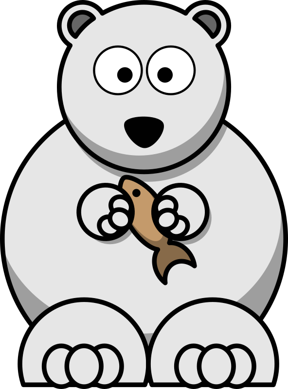 vector black and white library Polar bear black and white clipart. Cartoon medium image png