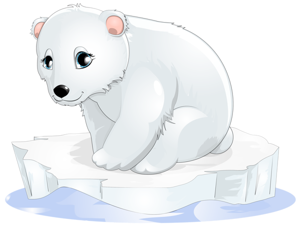 vector black and white stock Polar bear on ice clipart. Popular and trending polarbear