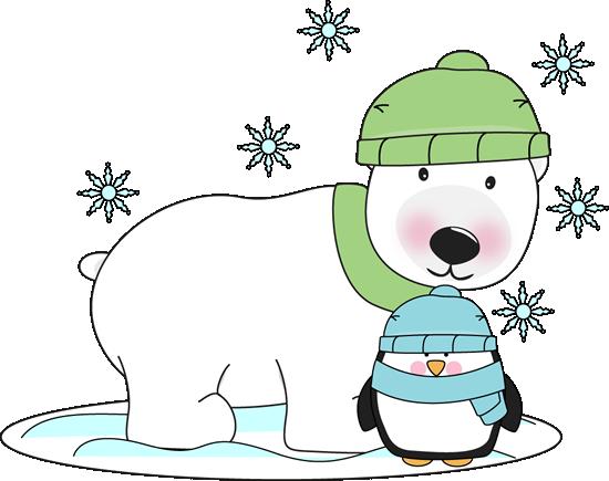 clip Polar bear and penguin clipart. Winter clip art by