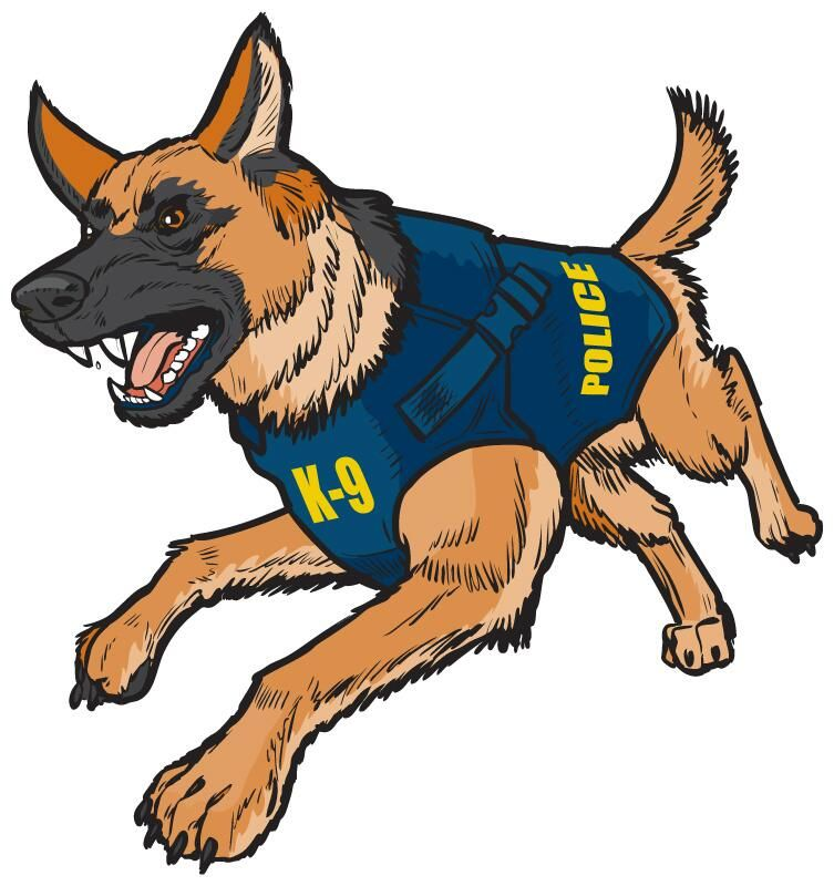 image free stock Police dog clipart. Commissioned illustration vector k