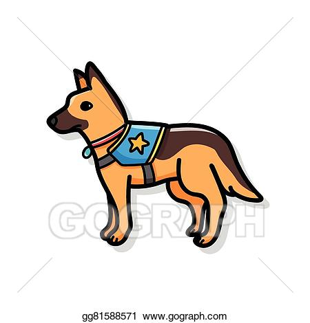 clip art royalty free download Police dog clipart. Vector stock doodle illustration