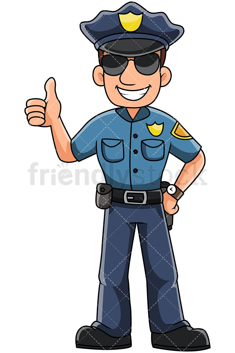 vector black and white stock Male Police Officer Gesturing Thumbs Up And Smiling