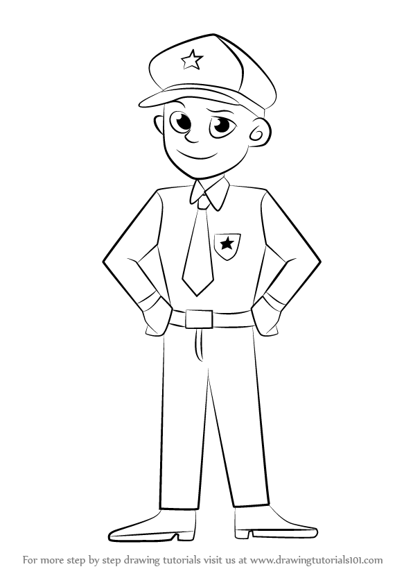 graphic Cop drawing. Learn how to draw.