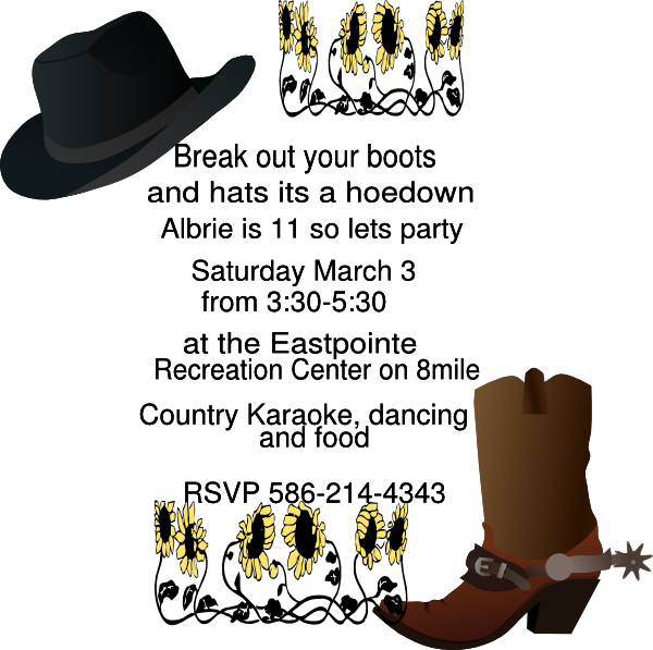 freeuse download Cowboy hat hoedown free. Karaoke party clipart