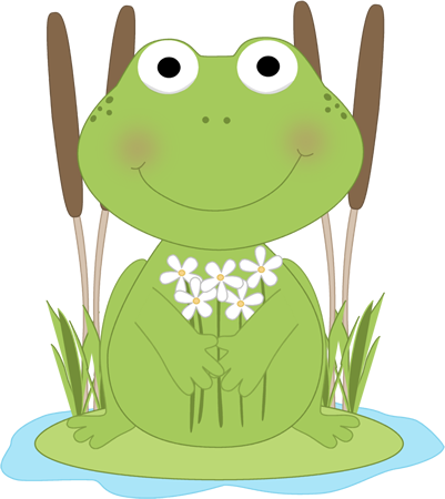 clip transparent download Frog with flowers in a pond