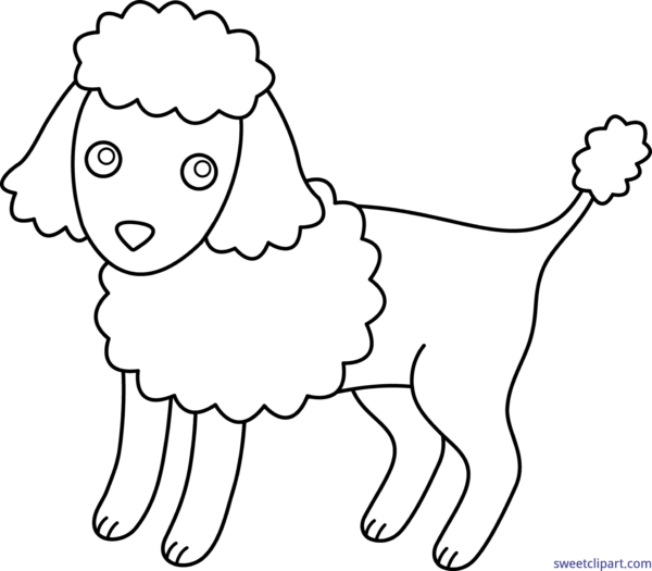 jpg royalty free library Sweet clip art page. Poodle clipart black and white.