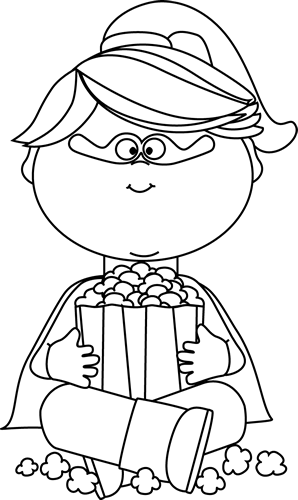 picture royalty free library Superhero girl eating popcorn. Respect clipart black and white
