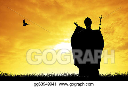 image black and white stock Stock illustration drawing . Pope clipart silhouette