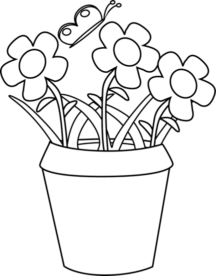 banner transparent library Black And White Flower Pot Images