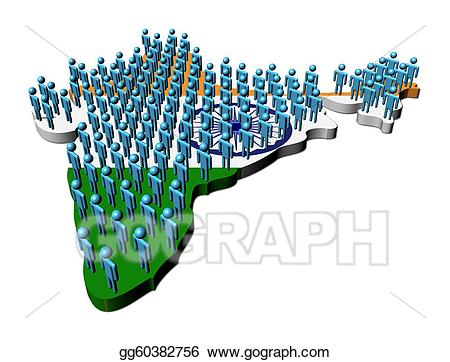 clipart Population clipart india population. Abstract people on map