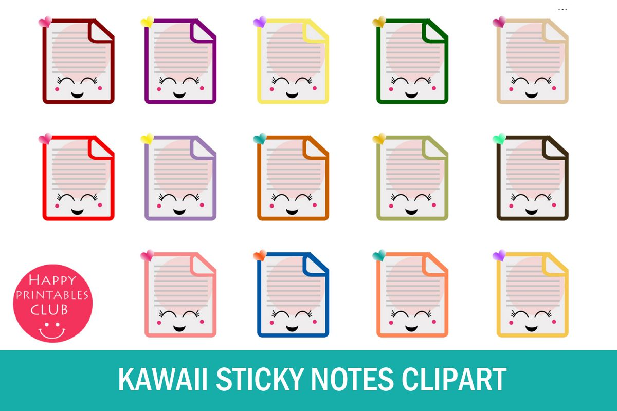 jpg library stock Post it clipart printable.  kawaii sticky notes