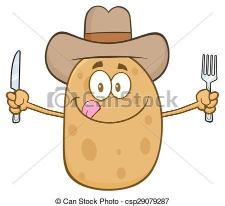svg stock Cowboy potato cartoon character. Potatoes clipart vector