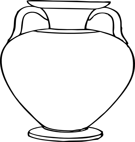 clip black and white library Glass vase clipart. Flower outlines for coloring