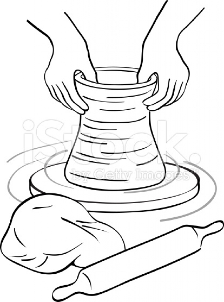graphic freeuse download Clay potters stock vector. Pottery wheel clipart