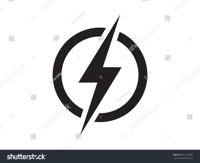 picture freeuse stock Lightning electric power logo. Vector emblem flash