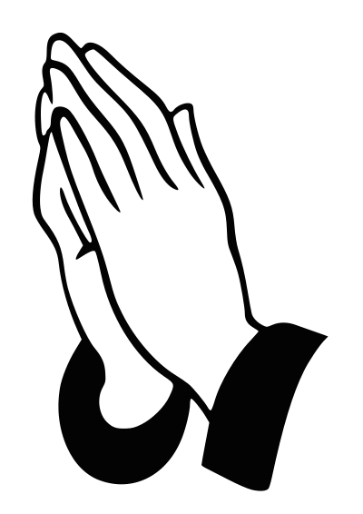 png black and white stock Praying vector. Prayer hands clipart