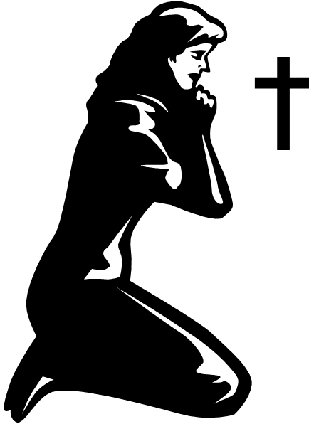 jpg black and white download Woman Praying Clipart